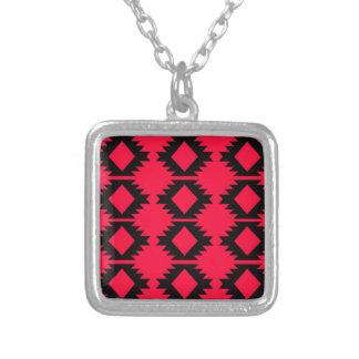Röd mayan design för Ethno design Silverpläterat Halsband