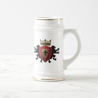 Röd medeltida lejon heraldiköl Stein Sejdel