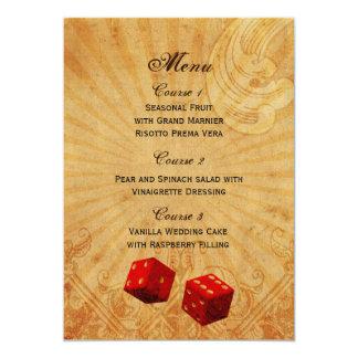 röd meny för tärningvintageVegas bröllop 12,7 X 17,8 Cm Inbjudningskort