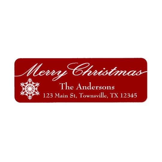 Röd modern jul och vitsnöflingor returadress etikett