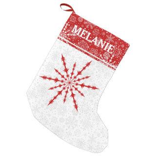 Röd Monogram för julSnowflakeanpassningsbar Small Christmas Stocking
