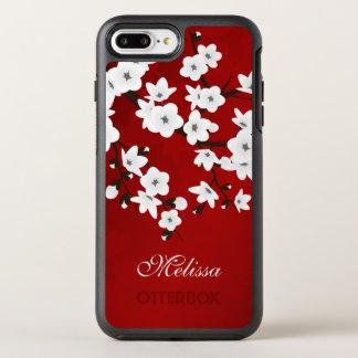 Röd Monogram för körsbärsröd vit för blommar svart OtterBox Symmetry iPhone 7 Plus Skal