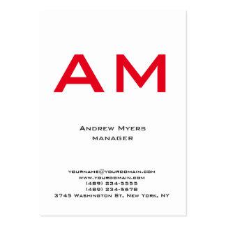 Röd monogram för vertikal unik vanlig enkel vit set av breda visitkort