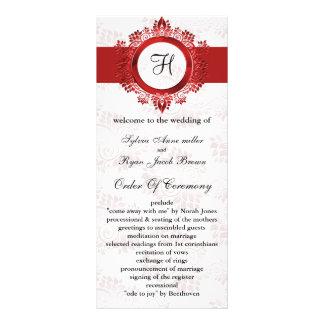 röd monogrambröllopsprogram rackkort mallar