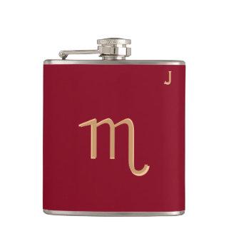 Röd Monogrammed flaska - Zodiac - Scorpio Fickplunta