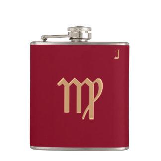 Röd Monogrammed flaska - Zodiac - våg Fickplunta