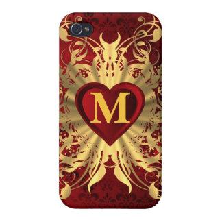 Röd monogrammed hjärta och guld- mönster iPhone 4 skal