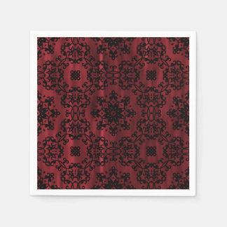 Röd mörk - och geometrisk svart gotisk grunge pappersservett