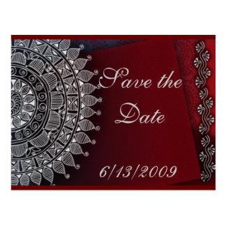 Röd mörk - och silverdesign vykort