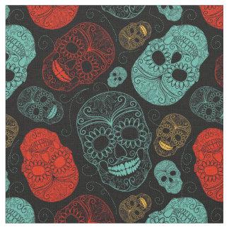 Röd mosaisk konst för day of the dead & blått tyg