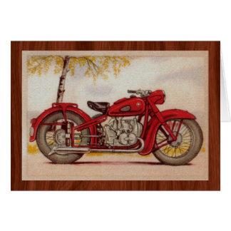 Röd motorcykel för vintage OBS kort