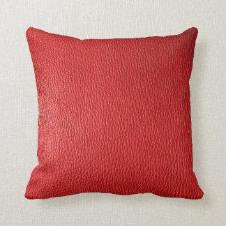 Röd naturlig läderLook Kudde