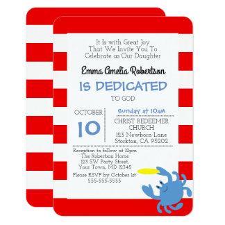 Röd nautisk krabba personifierat litet dop 8,9 x 12,7 cm inbjudningskort