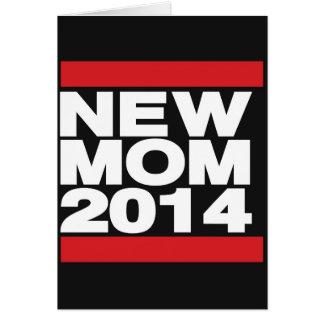 Röd ny mamma 2014 hälsningskort