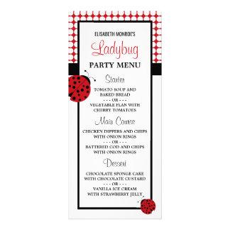 Röd nyckelpigabarns meny för födelsedagsfest