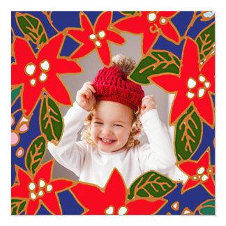 Röd nyckfull julstjärnahelgdag Photocard Fyrkantigt 13,3 Cm Inbjudningskort
