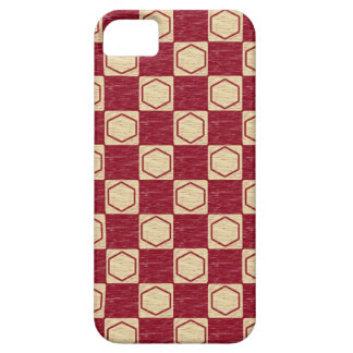Röd och beige rutig sexhörningsiphone case för iPhone 5 Case-Mate skydd