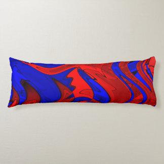 Röd och blåttabstrakt förkroppsligar kudder kroppskudde
