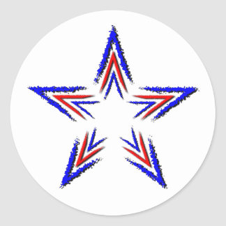 röd och blåttstjärna runt klistermärke