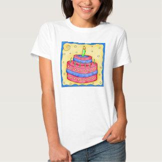 Röd och för blåttfödelsedagtårta för utslagsplats tee shirts