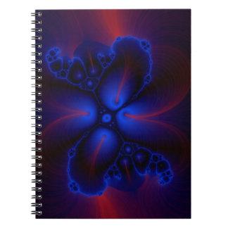 röd och för blåttfractalkonst anteckningsbok