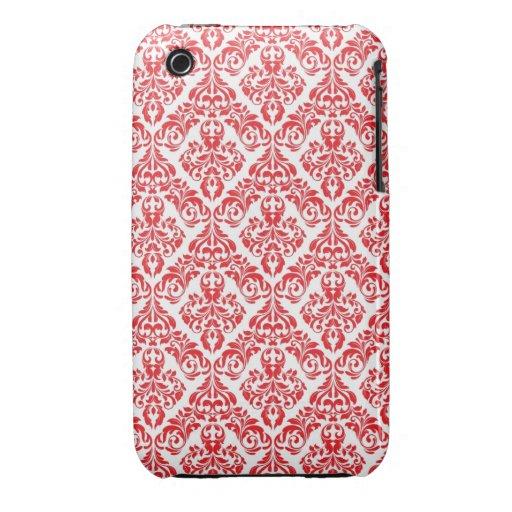 Röd och för designblackberry curve för vit damasta iPhone 3 cases