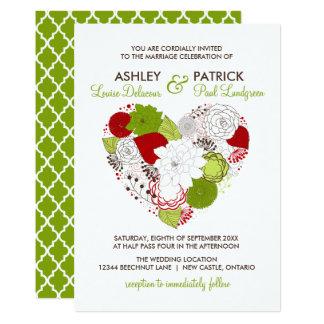 Röd och för girighet för blom- hjärta nyckfullt 12,7 x 17,8 cm inbjudningskort