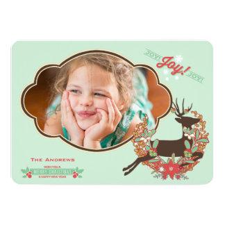 Röd och för Minthjortjul för helgdag för foto kort 12,7 X 17,8 Cm Inbjudningskort