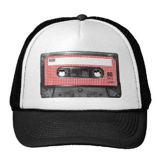 Röd och för vitHoundstooth etikett kassett Keps
