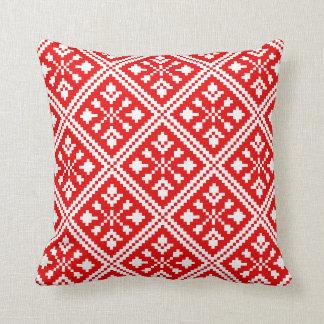 Röd och för vitjulsnöflingor mönster kudde