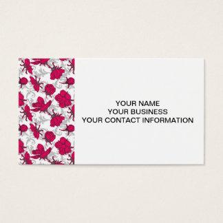 Röd och grå vintageblommönster för Ruby Visitkort