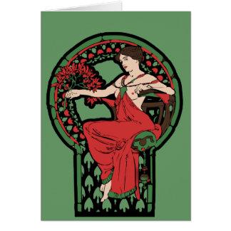 Röd och grön art nouveau hälsningskort