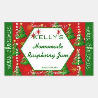 Röd och grön julmatetikett rektangelformat klistermärke