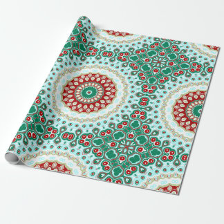 Röd och grön Mandala för helgdagdesignjul Presentpapper