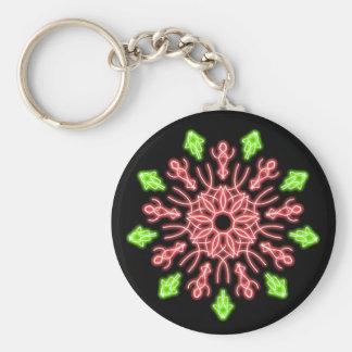 Röd och grön neonblomma rund nyckelring