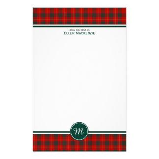 Röd och grön plädMonogram för Cameron familjTartan Brevpapper