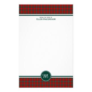 Röd och grön plädMonogram för MacGregor klanTartan Brevpapper