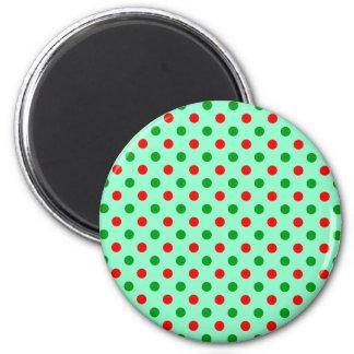 Röd och grön polka dots magnet