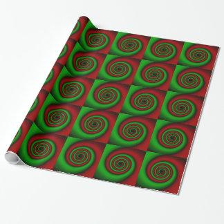 Röd och grön spiral julsjal presentpapper