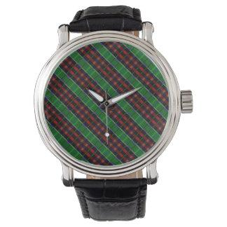 Röd och grön Tartanplädklocka Armbandsur