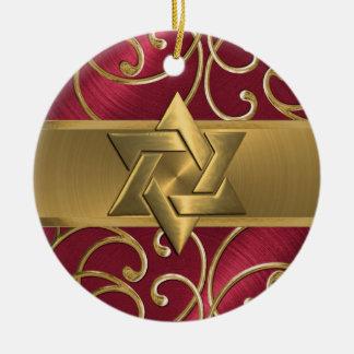 Röd och guld- davidsstjärnaprydnad rund julgransprydnad i keramik