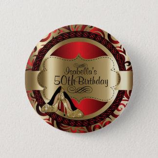 Röd och guld- födelsedag med guld- högklackar standard knapp rund 5.7 cm