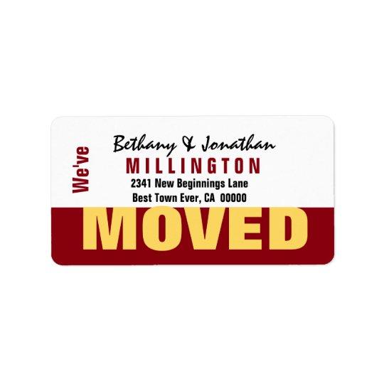 Röd och guld- modern enkel vi har flyttat V04 Adressetikett
