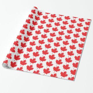 Röd och kanadensiskt lönnlövmönster för vit presentpapper