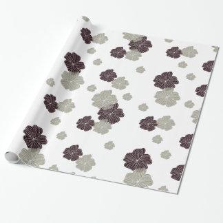 Röd och kräm- blommigt presentpapper