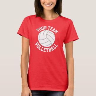 Röd och kvinna för namn för vitvolleybolllag tröjor