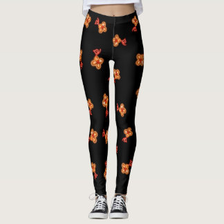 Röd och orange blommigtabstraktdamasker leggings