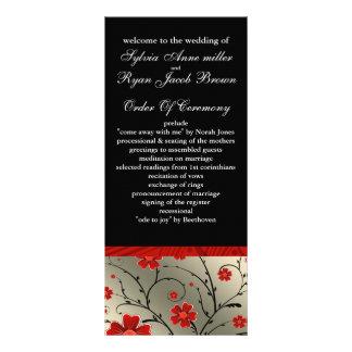 röd och svart blom- bröllopsprogram för elfenben anpassade ställkort