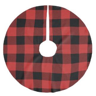 Röd och svart buffelkontroll - plädträdkjol julgransmatta borstad polyester