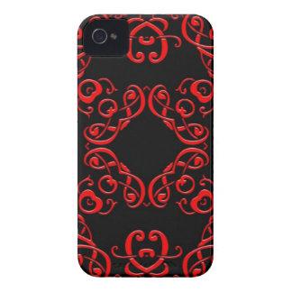 Röd och svart damast iPhone 4 Case-Mate skydd